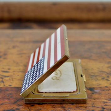 Vintage Makeup Compact, 48 Star American Flag Compact, Rex Fifth Avenue, Antique Compact, Compact Mirror