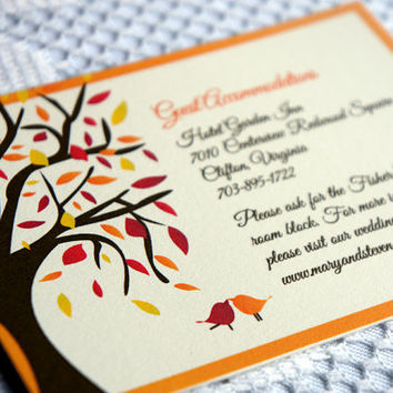 Fall Wedding Enclosure Cards, Wedding Reception Cards, Guest Accommodation Cards, Love Birds, Tree Design - DEPOSIT to get started