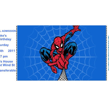 Spiderman Tickets Birthday Party Invitations