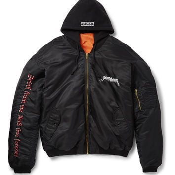 Vetements - Oversized Embroidered Shell Hooded Bomber Jacket