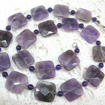 Purple Amethyst Necklace, semi precious stone, Faceted Square beads, Statement Necklace, meditation, love, crystal, matching earrings