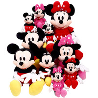 2015 New 1 Piece 28CM-30CM Mini Lovely Mickey Mouse And Minnie Mouse Stuffed Soft Plush Toys Christmas Gifts