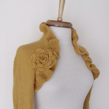 Mustard Wedding Bridal Shrug long sleeves With Flower Brooches-Ready for shipping