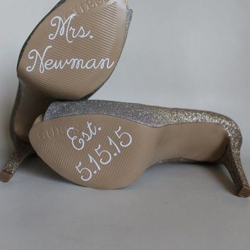 White Wedding Shoe Decals  - Customized Wedding Shoe Stickers - Your Wedding Date and Name