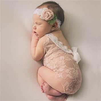 Newborn Photography Props Infant Costume Princess Cute Toddler Girl Clothing Handmade Baby Girl Lace Romper Jumpsuit White