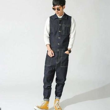 male vintage tooling one piece bodysuit male personality jeans trousers