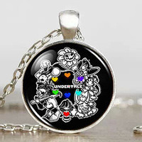 Undertale fans Game Gamer Gaming Men Handmade Fashion Necklace brass silver Pendant steampunk Jewelry womens new chain toy mens
