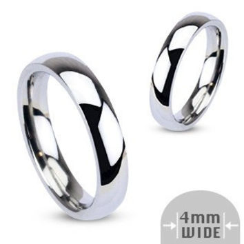 I Do! - 4mm Glossy Silver Stainless Steel Traditional Wedding Band