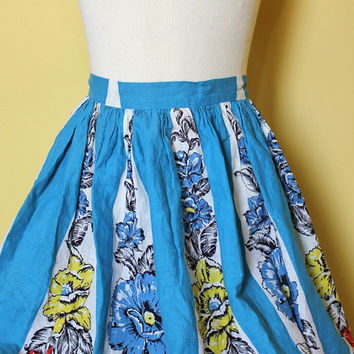 Vintage Swing Skirt 50s Rockabilly Circle Skirt XS Blue Floral Print