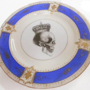 Blue and Gold Vintage Skull Plate,2 Options, AVAILABLE WITHOUT DECAL