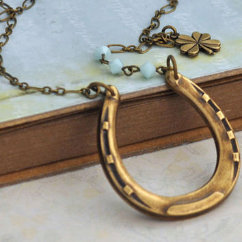 THE HORSESHOE NECKLACE antiqued brass good luck necklace