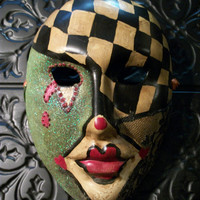 Harlequin Ceramic OOAK Altered Art Mask Cirque Carnival Wall Hanging Home Decor Christmas Mystique Fantasy