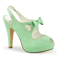 Pin Up Couture Mint Green Bettie Slingback Heart Platform