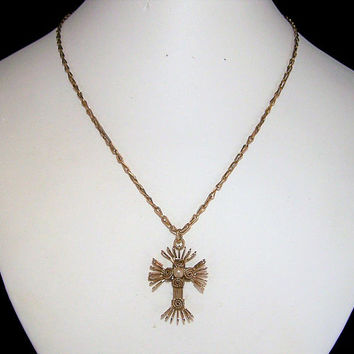 Gold Filled Stylized Cross Pendant, Christian Necklace, Wire Wrapped Faux Pearl, Religious Gift Idea 1217