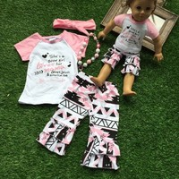 America doll/girls outfit 2 sets Summer girls clothes pink she is good girl capris with matching headband and necklace set