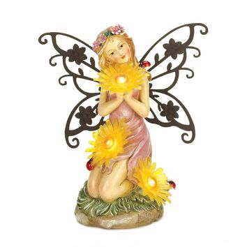 Iron Garden Blooms Fairy Solar Powered Light Up Statue
