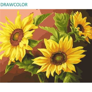 DRAWCOLOR Frame Sunflower DIY Painting By Numbers Acrylic Canvas Wall Art Picture Painting Calligraphy For Home Decors 40x50cm