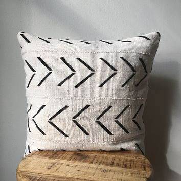 White & Black Large Arrow Print African Mudcloth Pillow Cover - Double sided and Insert Available