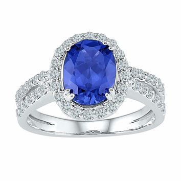 10kt White Gold Womens Oval Lab-Created Blue Sapphire Solitaire Diamond Ring 2-1-8 Cttw
