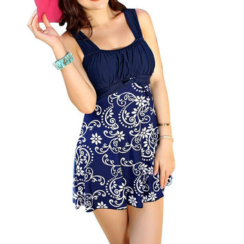 Dark Blue Floral Print Sleeveless Ruched Mini Dress