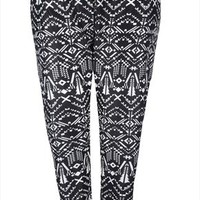 Black And White Aztec Print Cuffed Harem Trousers plus size 16,18,20,22,24,26,28,30,32