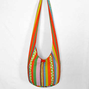 Hobo Bag, Crossbody Bag, Hippie Purse, Sling Bag, Hobo Purse, Boho Bag, Bohemian Purse, Striped Hobo Bag, Flowers, Polka Dots, Fabric Purse