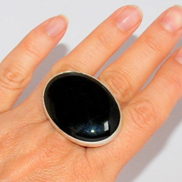 Black Onix Gemstone Sterling Silver  Ring Handmade Large
