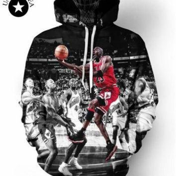 DCKL9 men/women's 3D Pullover Hoodie print Jordan Dunk Sweatshirt Long Sleeve Crew Neck Casu