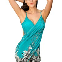 Pinkyee Women's Negril Beach Cover-up One Size Blue