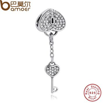 Romantic 925 Sterling Silver Lock Of Love Charm Fit  Bracelet Padlock Pave Silver Charm with Clear Cubic Zirconia PAS015