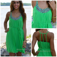 Carsyn Lime Green Beaded Dress