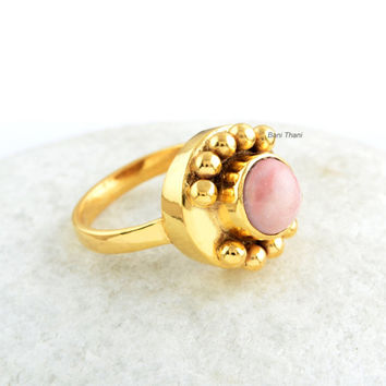 Pink Opal Ring-Opal Ring-Pink Opal-Handmade-Gold Plated-Sterling SIlver-7mm Round-Gift for Her-Valentine's Day
