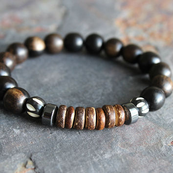 Mens Tiger Ebony Wood Bracelet w/ Batik Bone & Hematite Mens Bracelet Gift for Man Jewelry Mens Gifts Mens Yoga Bracelet Yoga Gifts Under 30