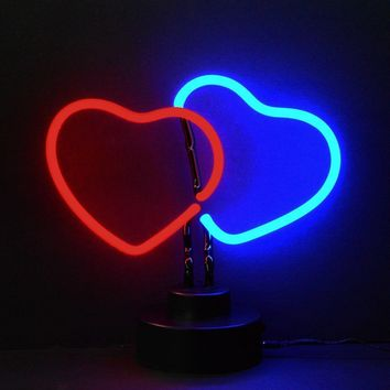 Double Hearts Neon Sculpture