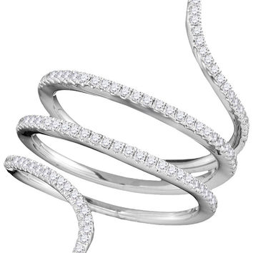 18kt White Gold Womens Round Diamond Serpent Wrap Band Ring 3/8 Cttw 103336