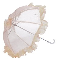 Topwedding Two Toned Organza Wedding Umbrella Parasol with Tulle Ruffles
