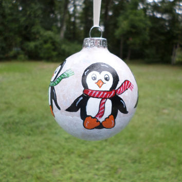 Hand painted glass ornament penguin Christmas decoration  no45