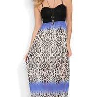 Long Maxi Dress with Color Block Tribal Print and Open Back