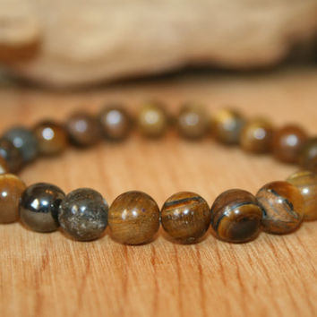 Tiger Eye, Hematite & Jade Mookaite Bracelet, Gift for Him Her, Man Woman Gift, Gemstone Jewelry, Wrist Mala Beads, Meditation Jewelry, Zen