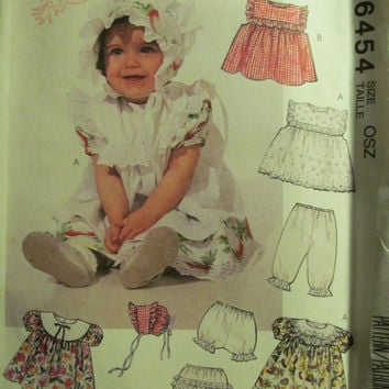 Sale Uncut 1993 McCall's Sewing Pattern, 6454! Infant/Toddlers Pinafore/Pantaloons/Bloomers/Bonnets/Ruffle Bodice Dresses/Sleeveless Short S