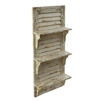 Coastal Vintage Shuttered Wood Shelf - Cream - 39-in