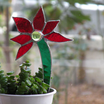Red Flower Stained Glass Garden Stake - Ornament, Table Decorations for Birthday or Shower