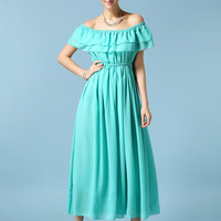 Lotus Leaf Collar Chiffon A-line Pleaed Maxi Dress