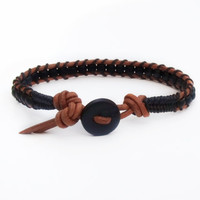 Matte Black Saddle Brown Leather Wrap Bracelet Mens Braclet Womens Bracelet Southwestern Hipster Western