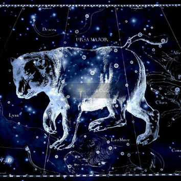 Ursa Major Constellation, Astronomy, Space, Night Sky, Big Dipper, Metallic Print, Blue & Black Print