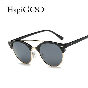 Vintage Half Frame Round Cat Eye Sunglasses Women New Fashion Twin-Beams Designer Men Sun Glasses For Female