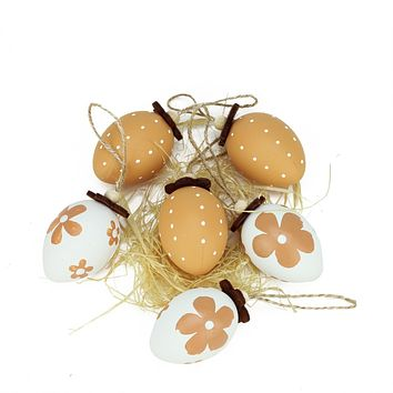 Set of 6 Natural Tone Decorative Painted Design Spring Easter Egg Ornaments 2.25""