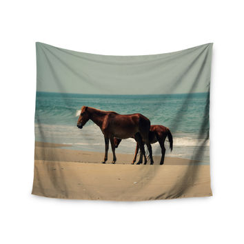 "Robin Dickinson ""Sandy Toes"" Beach Horses Wall Tapestry"