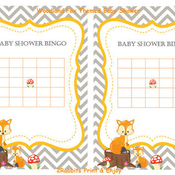Woodland Fox Themed Baby Shower - Bingo Blank Cards - Bingo Gift Baby Shower- Printable Baby Shower Game- Instant Digital Printable