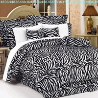 7Pcs Full Zebra Animal Kingdom Bedding Comforter Set:Amazon:Home & Kitchen
